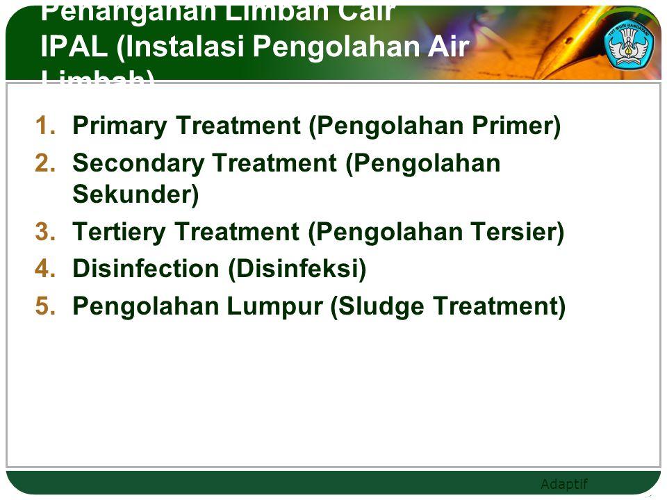 Adaptif Penanganan Limbah Cair IPAL (Instalasi Pengolahan Air Limbah)  Primary Treatment (Pengolahan Primer)  Secondary Treatment (Pengolahan Sekunder)  Tertiery Treatment (Pengolahan Tersier)  Disinfection (Disinfeksi)  Pengolahan Lumpur (Sludge Treatment)