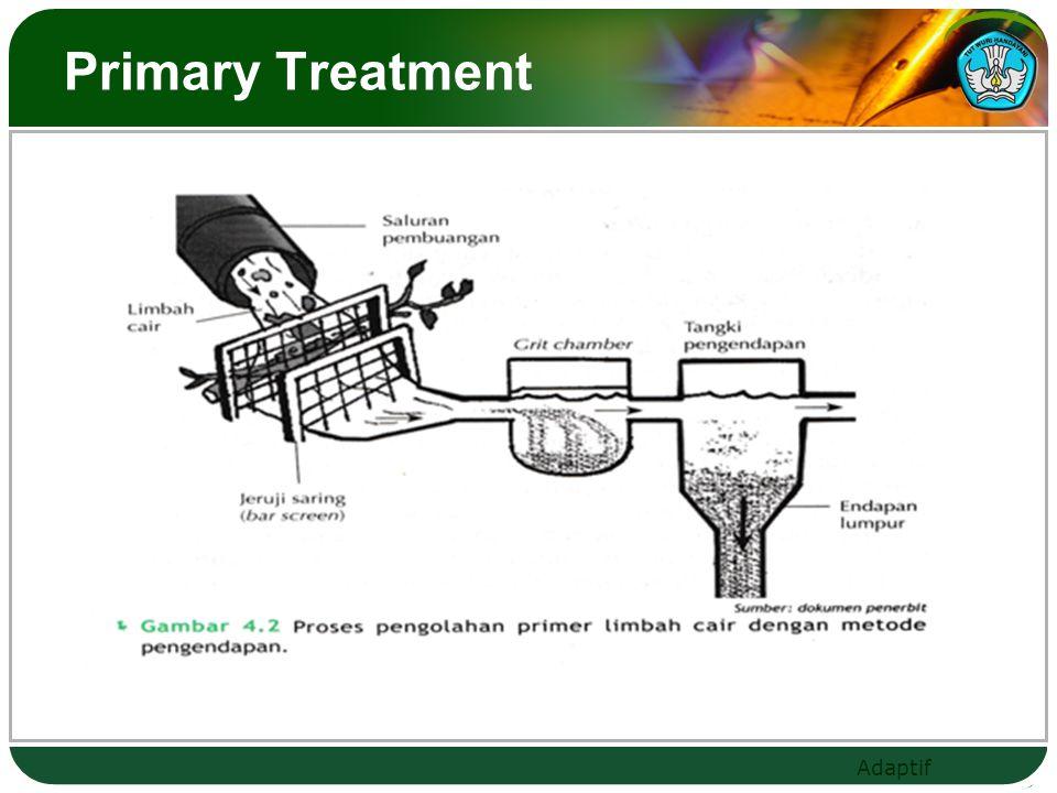 Adaptif Secondary Treatment ( Pengolahan sekunder)  Metode Trickling Filter Metode ini, digunakan bakteri aerob yang melekat pada permukaan media dan limbah akan merembes melalui celah-celah permukaan media dan disalurkan ke tangki pengendapan