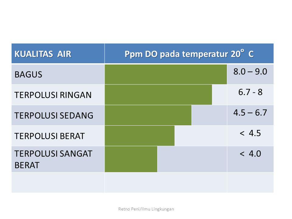 Retno Peni/Ilmu Lingkungan KUALITAS AIR Ppm DO pada temperatur 20 o C BAGUS 8.0 – 9.0 TERPOLUSI RINGAN 6.7 - 8 TERPOLUSI SEDANG 4.5 – 6.7 TERPOLUSI BE