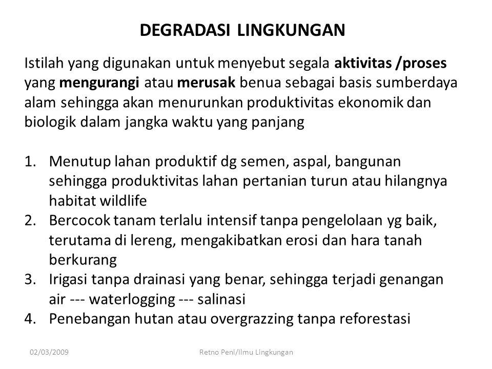 INDIKATOR PENCEMARAN Retno Peni/Ilmu Lingkungan 1.ASPEK FISIK 1.ASPEK FISIK :  WARNA  BAU  RASA  KONSISTENSI  TEMPERATUR ASPEK KIMIA 2.