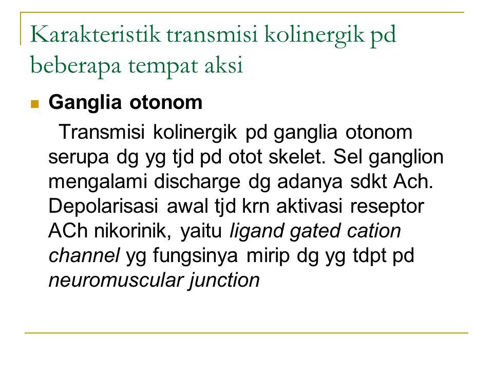 Karakteristik transmisi kolinergik pd beberapa tempat aksi Ganglia otonom Transmisi kolinergik pd ganglia otonom serupa dg yg tjd pd otot skelet.