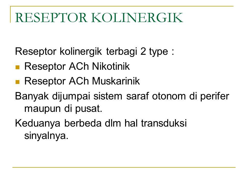 RESEPTOR KOLINERGIK Reseptor kolinergik terbagi 2 type : Reseptor ACh Nikotinik Reseptor ACh Muskarinik Banyak dijumpai sistem saraf otonom di perifer maupun di pusat.
