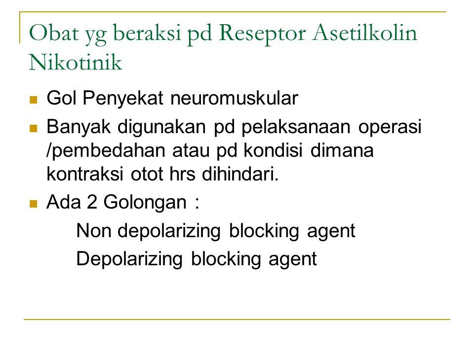 Obat yg beraksi pd Reseptor Asetilkolin Nikotinik Gol Penyekat neuromuskular Banyak digunakan pd pelaksanaan operasi /pembedahan atau pd kondisi dimana kontraksi otot hrs dihindari.