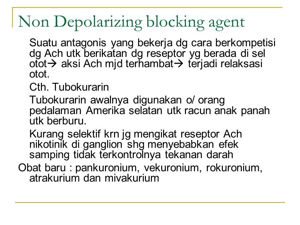 Non Depolarizing blocking agent Suatu antagonis yang bekerja dg cara berkompetisi dg Ach utk berikatan dg reseptor yg berada di sel otot  aksi Ach mjd terhambat  terjadi relaksasi otot.