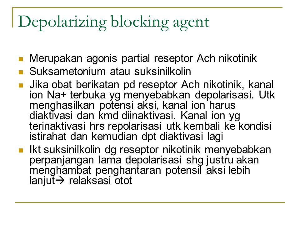 Depolarizing blocking agent Merupakan agonis partial reseptor Ach nikotinik Suksametonium atau suksinilkolin Jika obat berikatan pd reseptor Ach nikotinik, kanal ion Na+ terbuka yg menyebabkan depolarisasi.