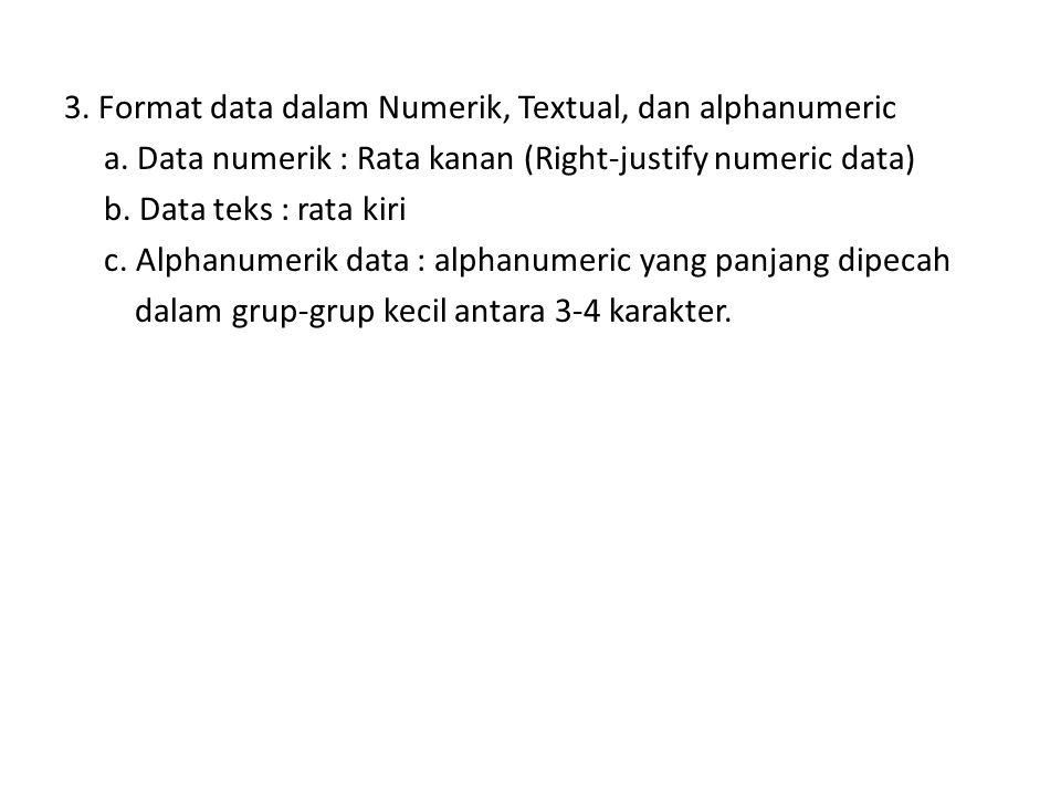 3. Format data dalam Numerik, Textual, dan alphanumeric a. Data numerik : Rata kanan (Right-justify numeric data) b. Data teks : rata kiri c. Alphanum