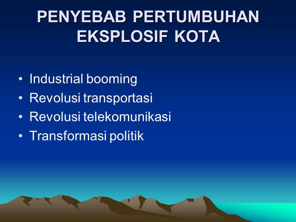 PENYEBAB PERTUMBUHAN EKSPLOSIF KOTA Industrial booming Revolusi transportasi Revolusi telekomunikasi Transformasi politik