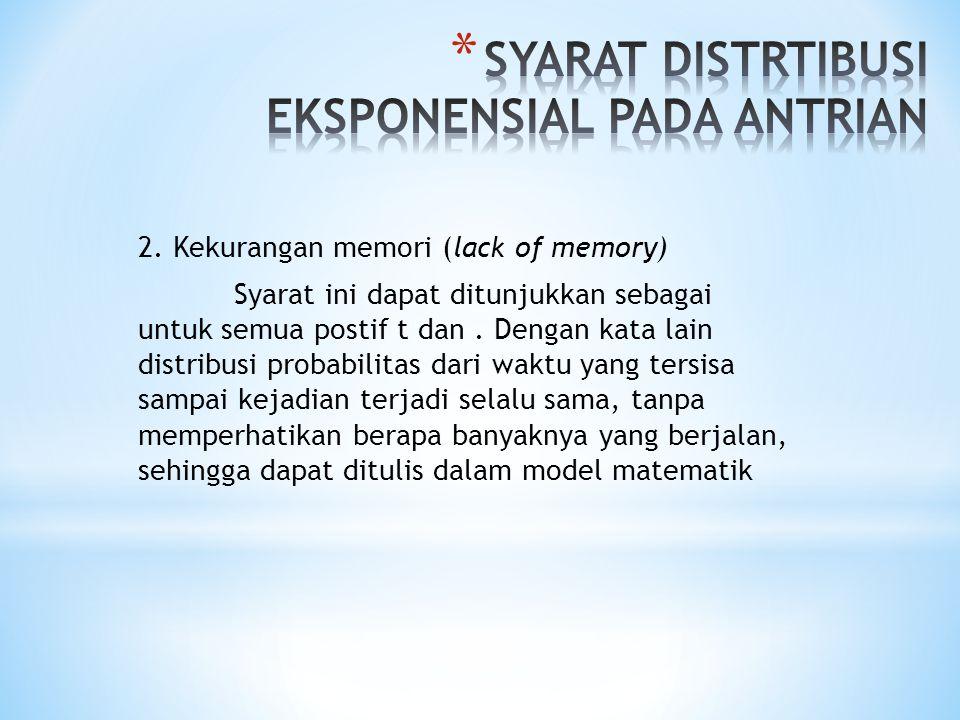 2. Kekurangan memori (lack of memory) Syarat ini dapat ditunjukkan sebagai untuk semua postif t dan. Dengan kata lain distribusi probabilitas dari wak