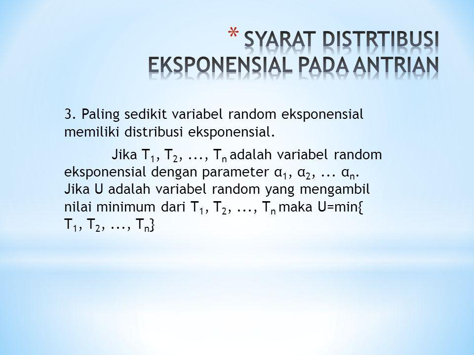 3. Paling sedikit variabel random eksponensial memiliki distribusi eksponensial. Jika T 1, T 2,..., T n adalah variabel random eksponensial dengan par