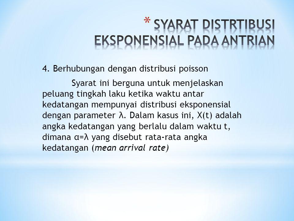 4. Berhubungan dengan distribusi poisson Syarat ini berguna untuk menjelaskan peluang tingkah laku ketika waktu antar kedatangan mempunyai distribusi