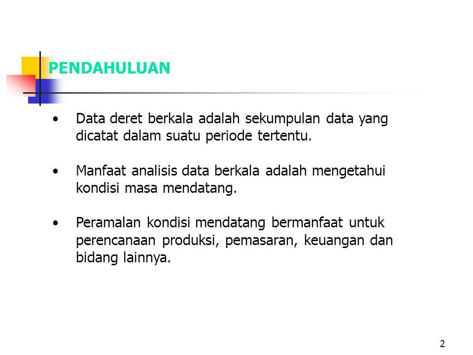 2 Data deret berkala adalah sekumpulan data yang dicatat dalam suatu periode tertentu. Manfaat analisis data berkala adalah mengetahui kondisi masa me
