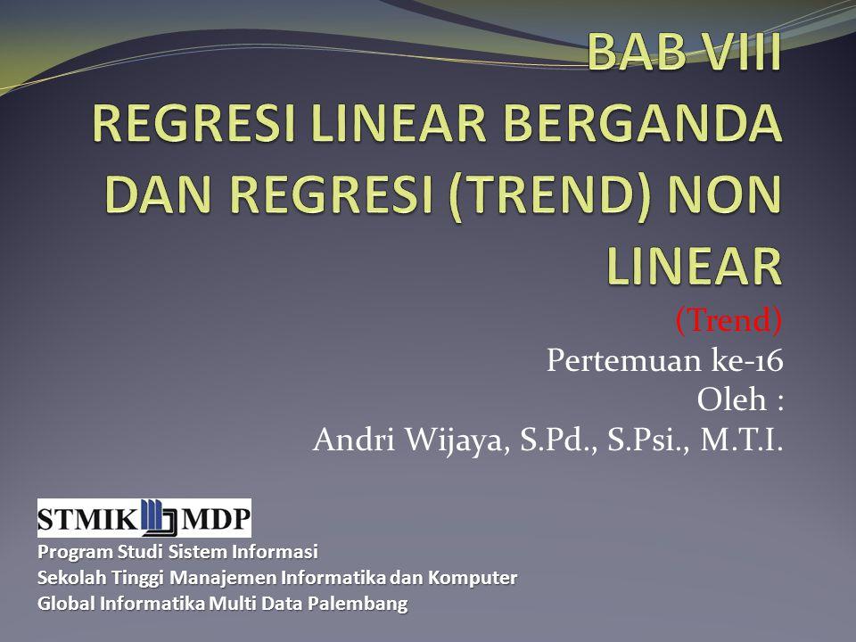 (Trend) Pertemuan ke-16 Oleh : Andri Wijaya, S.Pd., S.Psi., M.T.I. Program Studi Sistem Informasi Sekolah Tinggi Manajemen Informatika dan Komputer Gl