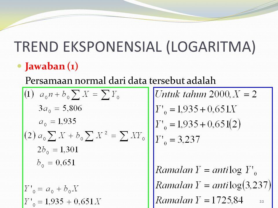 TREND EKSPONENSIAL (LOGARITMA) Jawaban (1) Persamaan normal dari data tersebut adalah 22