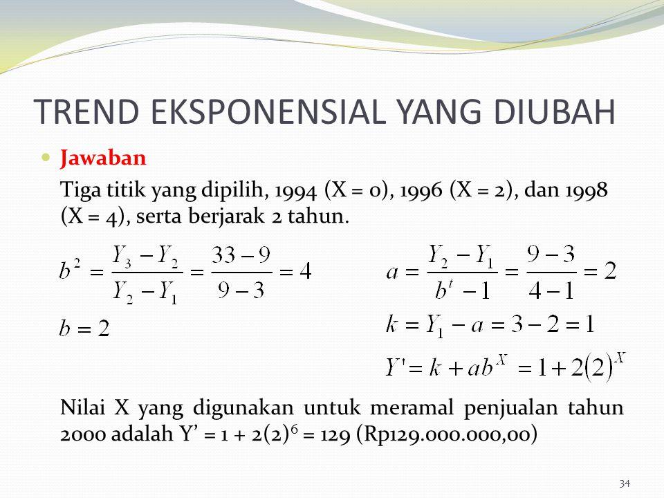 TREND EKSPONENSIAL YANG DIUBAH Jawaban Tiga titik yang dipilih, 1994 (X = 0), 1996 (X = 2), dan 1998 (X = 4), serta berjarak 2 tahun. Nilai X yang dig