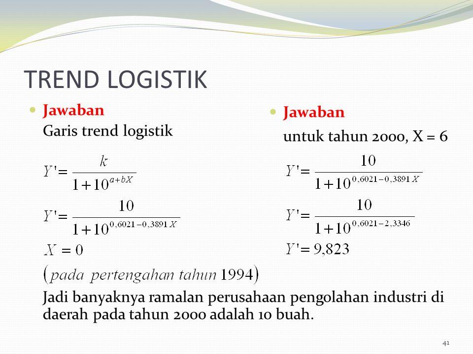 TREND LOGISTIK Jawaban Garis trend logistik Jadi banyaknya ramalan perusahaan pengolahan industri di daerah pada tahun 2000 adalah 10 buah. 41 Jawaban