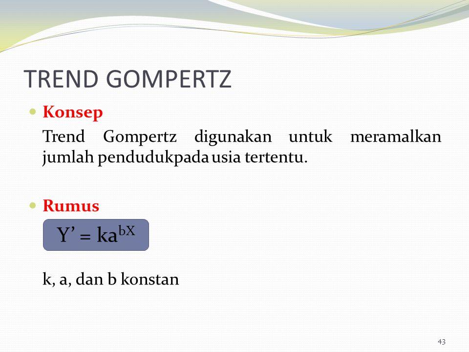TREND GOMPERTZ Konsep Trend Gompertz digunakan untuk meramalkan jumlah pendudukpada usia tertentu. Rumus k, a, dan b konstan 43 Y' = ka bX