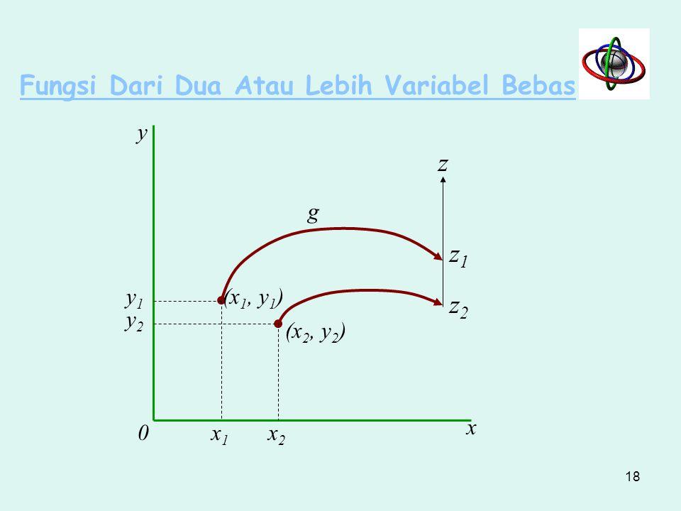Fungsi Dari Dua Atau Lebih Variabel Bebas z = g (x, y) z = ax + by z = a 0 + a 1 x + a 2 x 2 + b 1 y + b 2 y 2 Fungsi g membuat peta dari suatu titik dalam ruang dua dimensi, ke satu titik pada garis ruas (titik dalam ruang satu dimensi), seperti : dari titik (x 1,y 1 ) ke titik z 1 dari titik (x 2, y 2 ) ke titik z 2 17