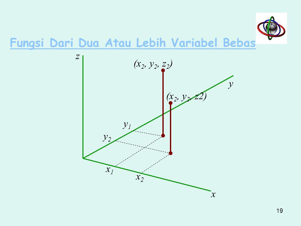 Fungsi Dari Dua Atau Lebih Variabel Bebas z z1z1 z2z2 (x 2, y 2 ) (x 1, y 1 ) g x2x2 x1x1 y1y1 y2y2 0 x y 18