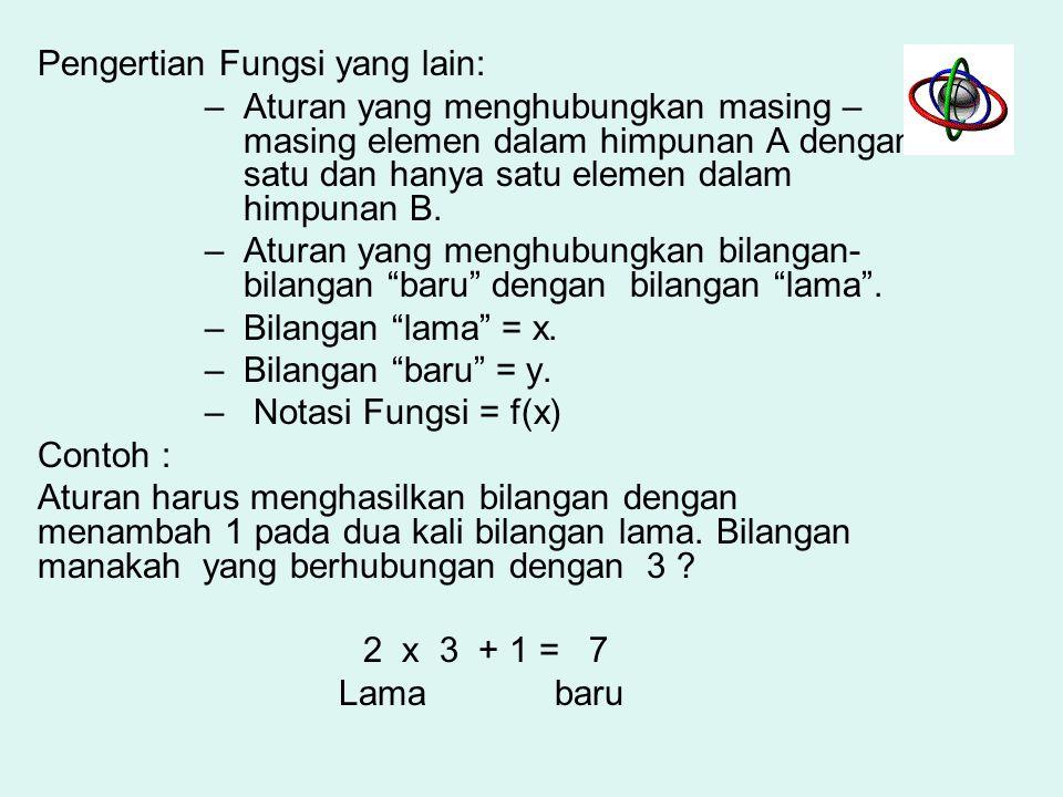 Definisi Fungsi : suatu bentuk hubungan matematis yang menyatakan hubungan ketergantungan (hub. fungsional) antara suatu variabel dengan variabel lain