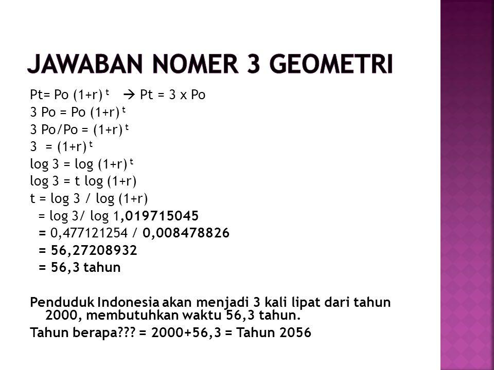 Pt= Po (1+r) t  Pt = 3 x Po 3 Po = Po (1+r) t 3 Po/Po = (1+r) t 3 = (1+r) t log 3 = log (1+r) t log 3 = t log (1+r) t = log 3 / log (1+r) = log 3/ log 1,019715045 = 0,477121254 / 0,008478826 = 56,27208932 = 56,3 tahun Penduduk Indonesia akan menjadi 3 kali lipat dari tahun 2000, membutuhkan waktu 56,3 tahun.
