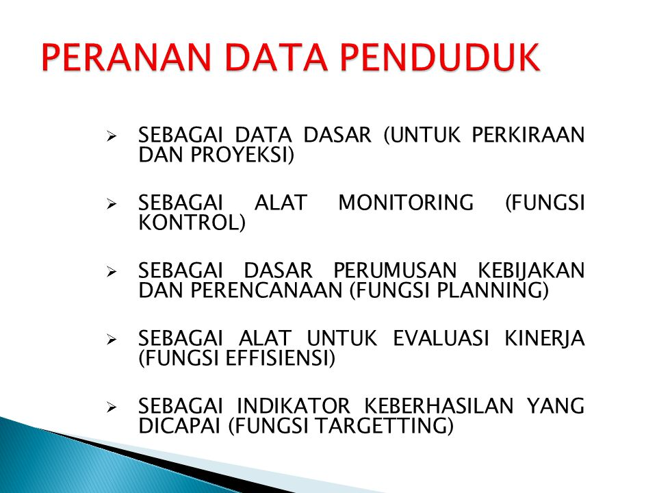 Data Input dalam DemProj  Data penduduk pada tahun dasar tertentu (berdasarkan kategori usia dan jenis kelamin)  Data Total Fertility Rate  Data Age Distribution of Fertility  Data Sex Ratio at birth  Data Life Expectancy  Data Model life table (IMR)  Data International migration