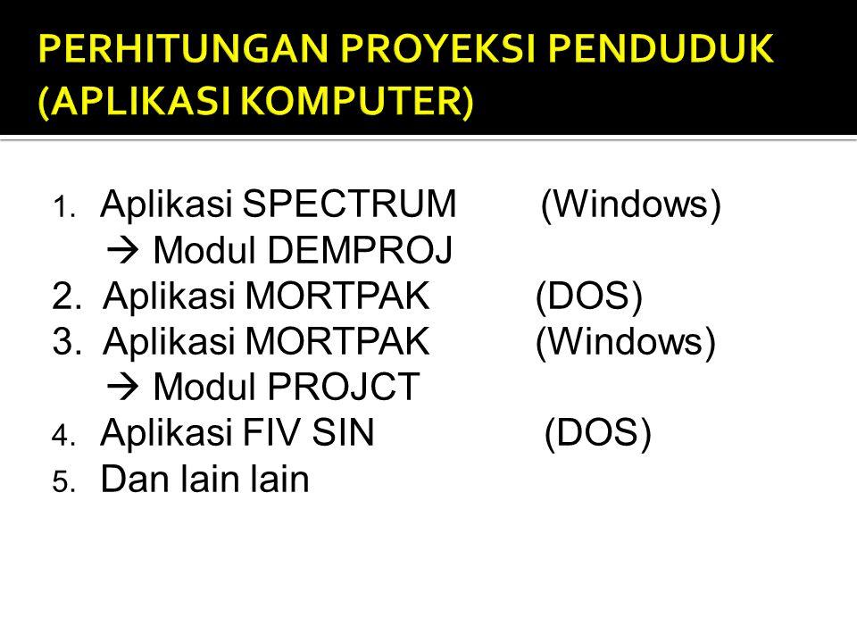 1.Aplikasi SPECTRUM (Windows)  Modul DEMPROJ 2. Aplikasi MORTPAK (DOS) 3.