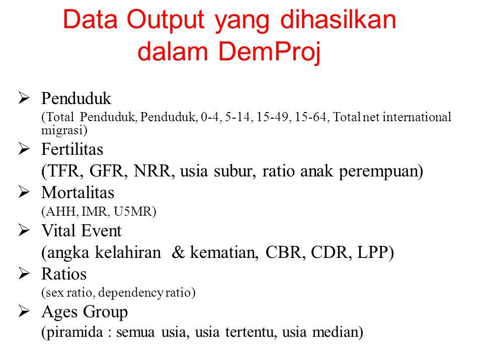 Data Output yang dihasilkan dalam DemProj  Penduduk (Total Penduduk, Penduduk, 0-4, 5-14, 15-49, 15-64, Total net international migrasi)  Fertilitas (TFR, GFR, NRR, usia subur, ratio anak perempuan)  Mortalitas (AHH, IMR, U5MR)  Vital Event (angka kelahiran & kematian, CBR, CDR, LPP)  Ratios (sex ratio, dependency ratio)  Ages Group (piramida : semua usia, usia tertentu, usia median)