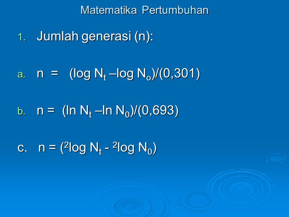 Matematika Pertumbuhan 1. Jumlah generasi (n): a. n = (log N t –log N o )/(0,301) b. n = (ln N t –ln N 0 )/(0,693) c. n = ( 2 log N t - 2 log N 0 )