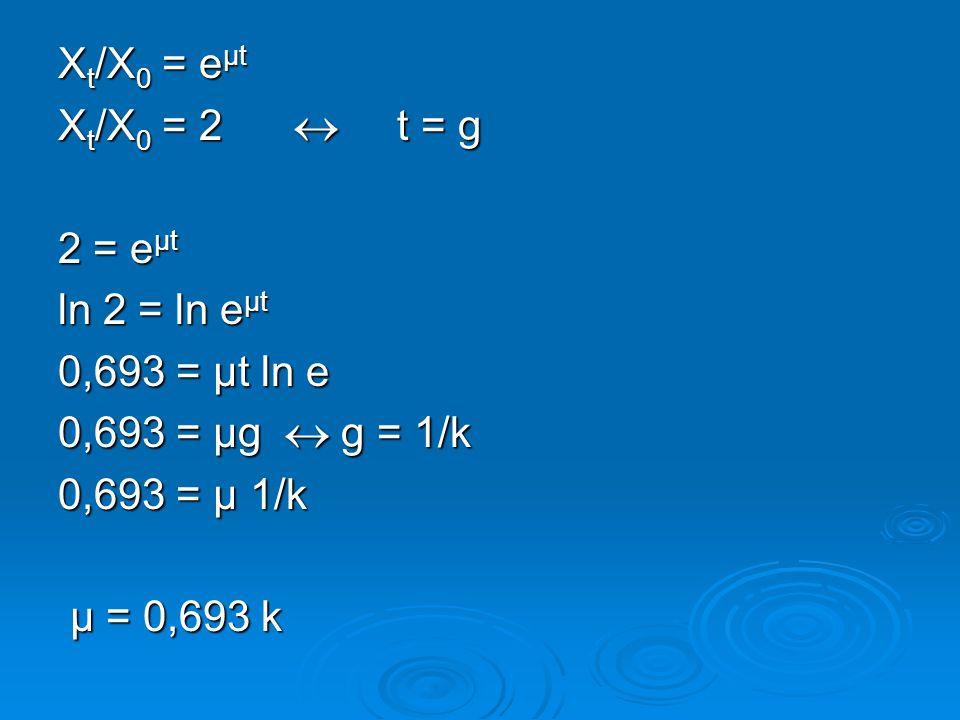 X t /X 0 = e μt X t /X 0 = 2  t = g 2 = e μt ln 2 = ln e μt 0,693 = μt ln e 0,693 = μg  g = 1/k 0,693 = μ 1/k μ = 0,693 k μ = 0,693 k