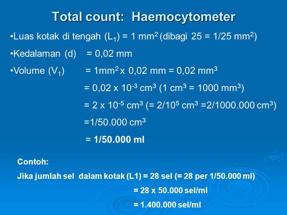 Total count: Haemocytometer Luas kotak di tengah (L 1 ) = 1 mm 2 (dibagi 25 = 1/25 mm 2 ) Kedalaman (d) = 0,02 mm Volume (V 1 ) = 1mm 2 x 0,02 mm = 0,