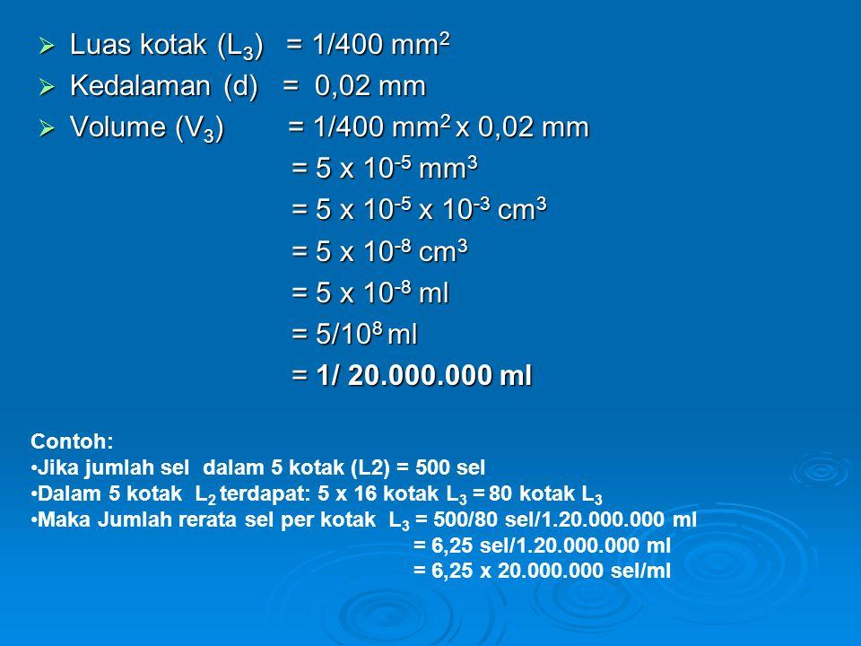 Luas kotak (L 3 ) = 1/400 mm 2  Kedalaman (d) = 0,02 mm  Volume (V 3 ) = 1/400 mm 2 x 0,02 mm = 5 x 10 -5 mm 3 = 5 x 10 -5 mm 3 = 5 x 10 -5 x 10 -