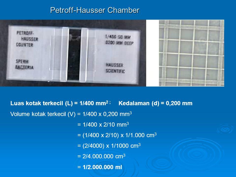 Petroff-Hausser Chamber Luas kotak terkecil (L) = 1/400 mm 2 ; Kedalaman (d) = 0,200 mm Volume kotak terkecil (V) = 1/400 x 0,200 mm 3 = 1/400 x 2/10