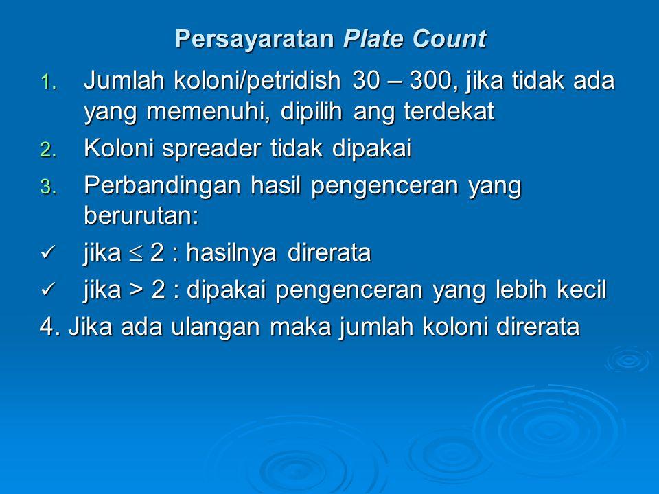 Persayaratan Plate Count 1. Jumlah koloni/petridish 30 – 300, jika tidak ada yang memenuhi, dipilih ang terdekat 2. Koloni spreader tidak dipakai 3. P