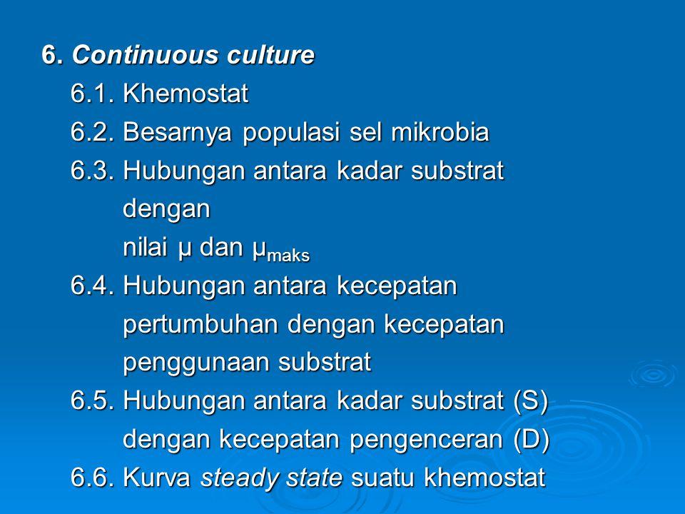 6. Continuous culture 6.1. Khemostat 6.1. Khemostat 6.2. Besarnya populasi sel mikrobia 6.2. Besarnya populasi sel mikrobia 6.3. Hubungan antara kadar