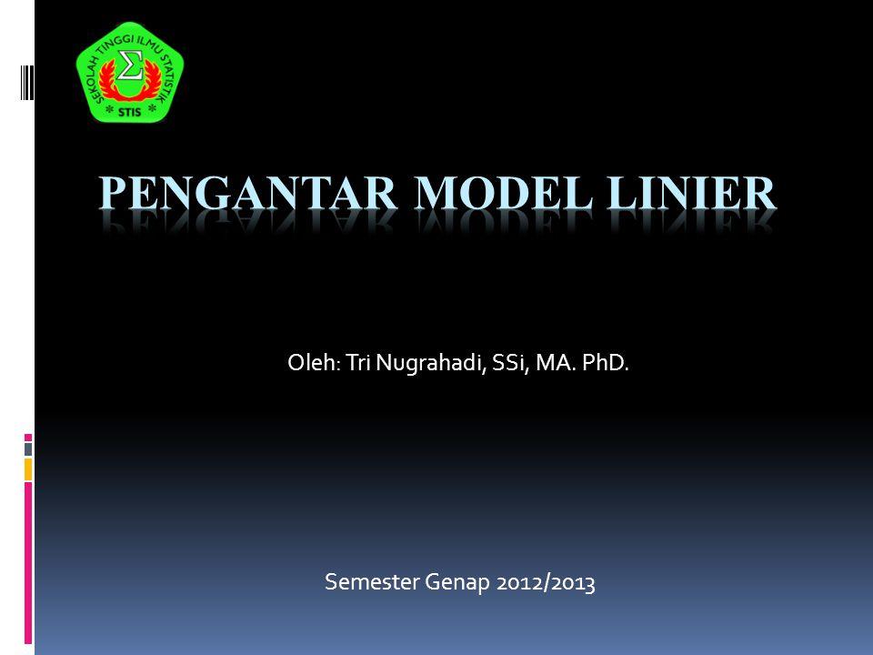 Oleh: Tri Nugrahadi, SSi, MA. PhD. Semester Genap 2012/2013