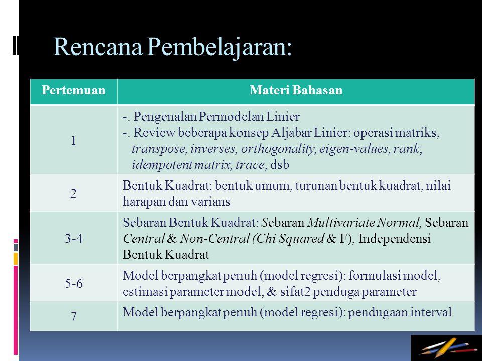 Rencana Pembelajaran: PertemuanMateri Bahasan 1 -. Pengenalan Permodelan Linier -. Review beberapa konsep Aljabar Linier: operasi matriks, transpose,