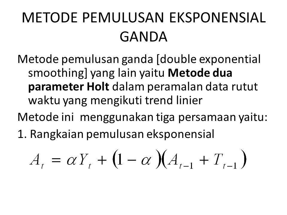 METODE PEMULUSAN EKSPONENSIAL GANDA Metode pemulusan ganda [double exponential smoothing] yang lain yaitu Metode dua parameter Holt dalam peramalan da