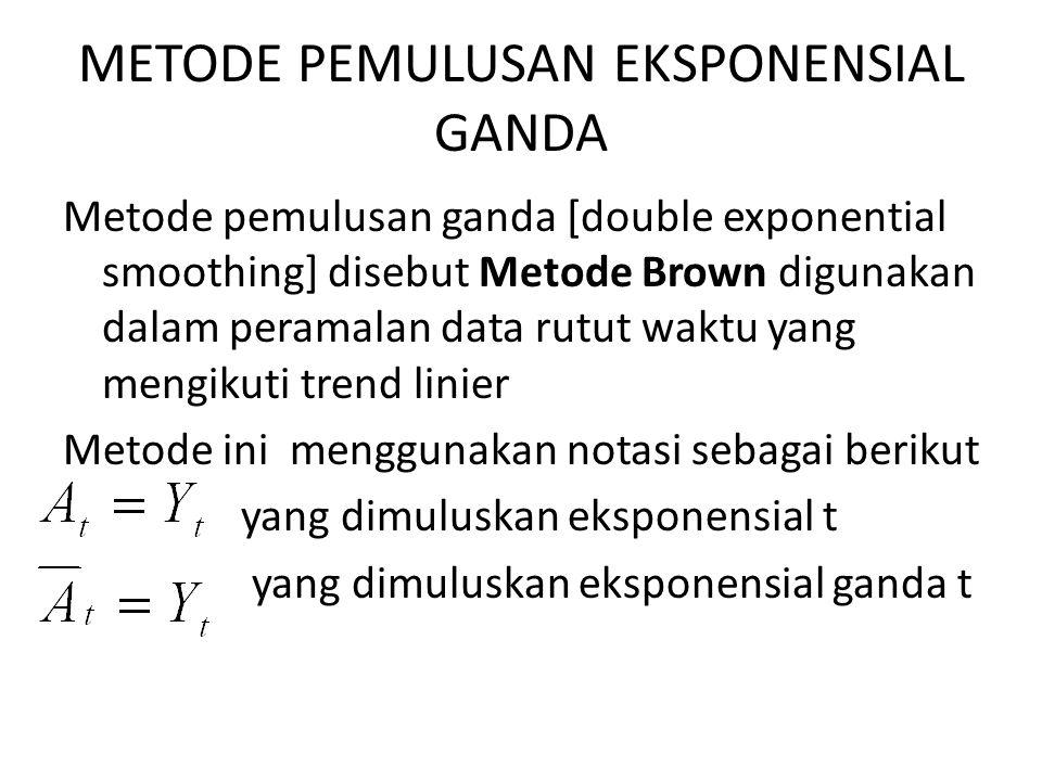 METODE PEMULUSAN EKSPONENSIAL GANDA Metode pemulusan ganda [double exponential smoothing] disebut Metode Brown digunakan dalam peramalan data rutut wa
