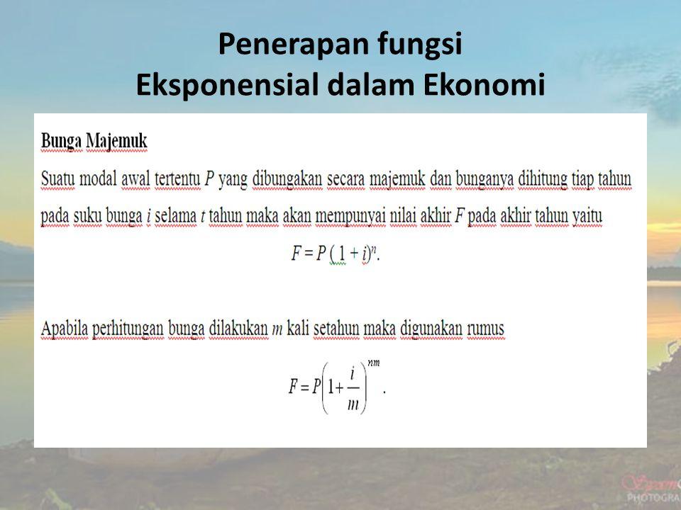 Penerapan fungsi Eksponensial dalam Ekonomi