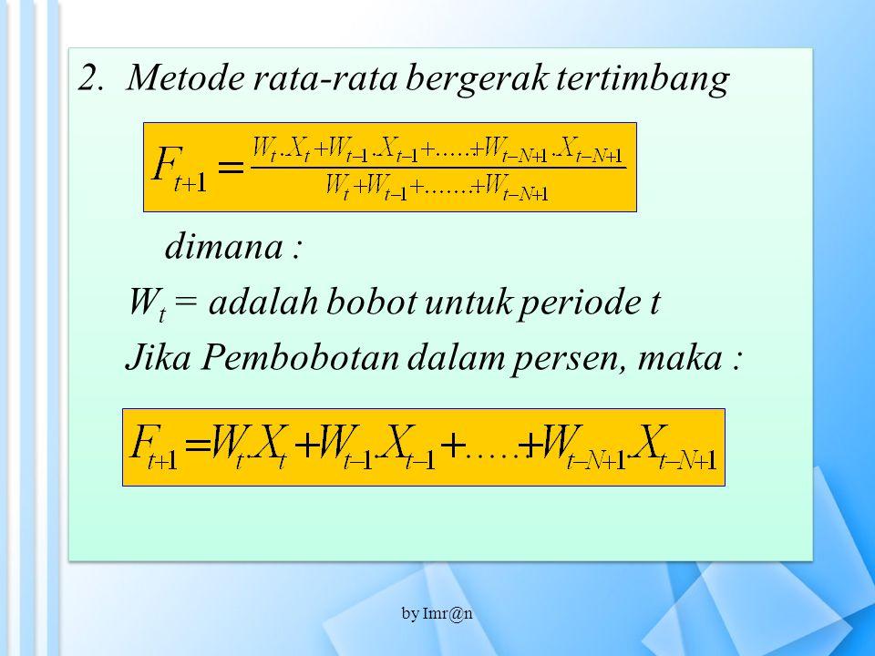 2.Metode rata-rata bergerak tertimbang dimana : W t = adalah bobot untuk periode t Jika Pembobotan dalam persen, maka : 2.Metode rata-rata bergerak te