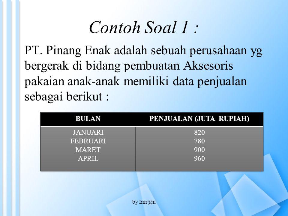 Contoh Soal 1 : PT. Pinang Enak adalah sebuah perusahaan yg bergerak di bidang pembuatan Aksesoris pakaian anak-anak memiliki data penjualan sebagai b