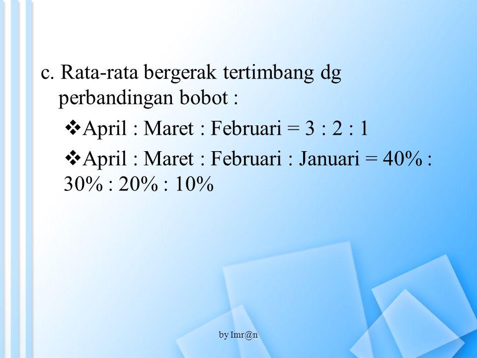 c. Rata-rata bergerak tertimbang dg perbandingan bobot :  April : Maret : Februari = 3 : 2 : 1  April : Maret : Februari : Januari = 40% : 30% : 20%