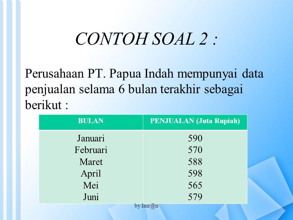 CONTOH SOAL 2 : Perusahaan PT. Papua Indah mempunyai data penjualan selama 6 bulan terakhir sebagai berikut : BULANPENJUALAN (Juta Rupiah) Januari Feb