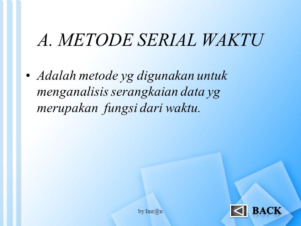 A. METODE SERIAL WAKTU Adalah metode yg digunakan untuk menganalisis serangkaian data yg merupakan fungsi dari waktu. by Imr@n