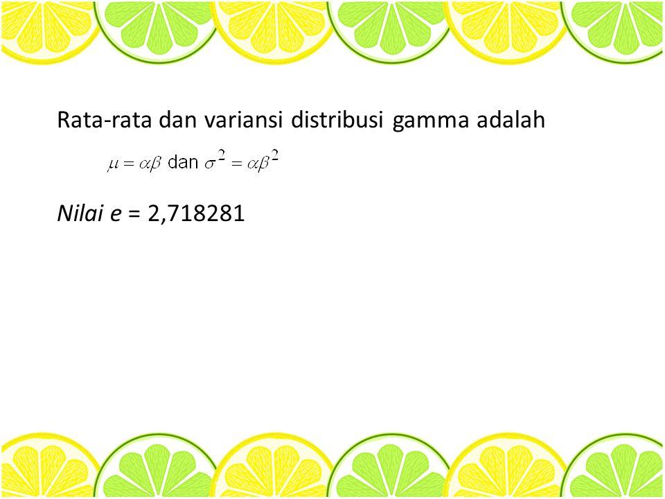 Rata-rata dan variansi distribusi gamma adalah Nilai e = 2,718281
