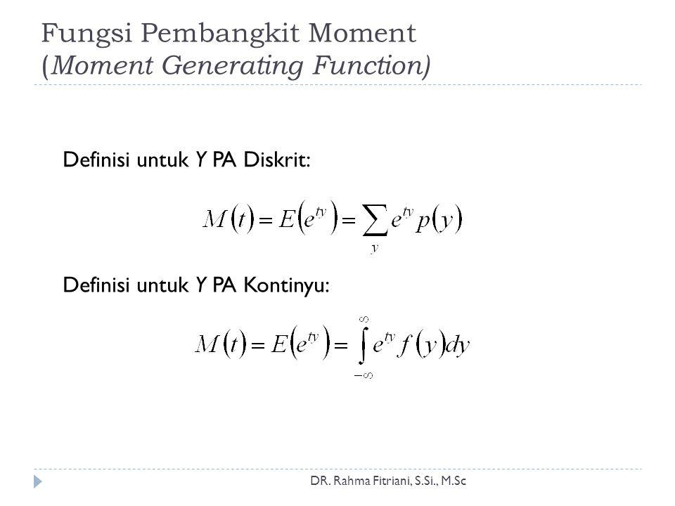 Sifat khusus fungsi pembangkit moment Bukti: Pada t =0 Definisi nilai harapan DR.