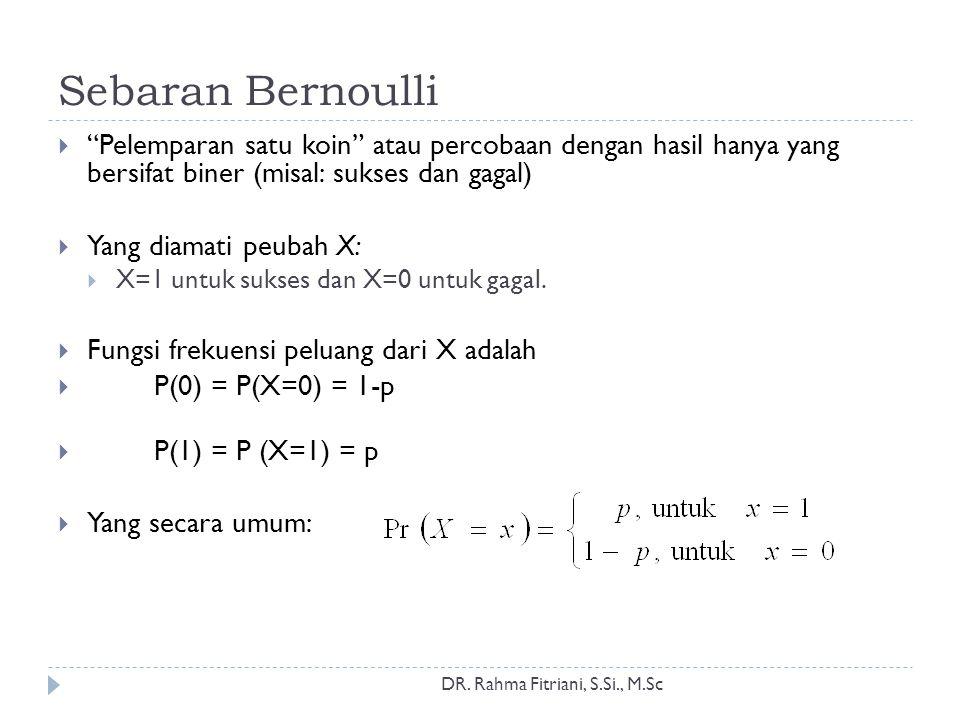 Sebaran Bernoulli DR. Rahma Fitriani, S.Si., M.Sc  Sifat-sifat: