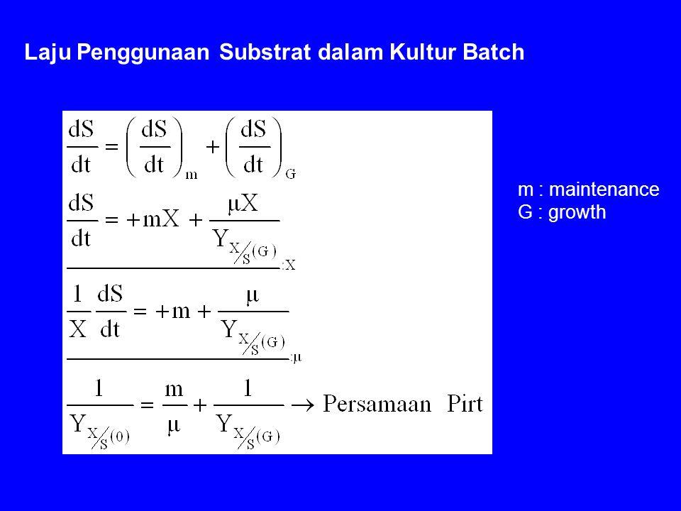 Laju Penggunaan Substrat dalam Kultur Batch m : maintenance G : growth
