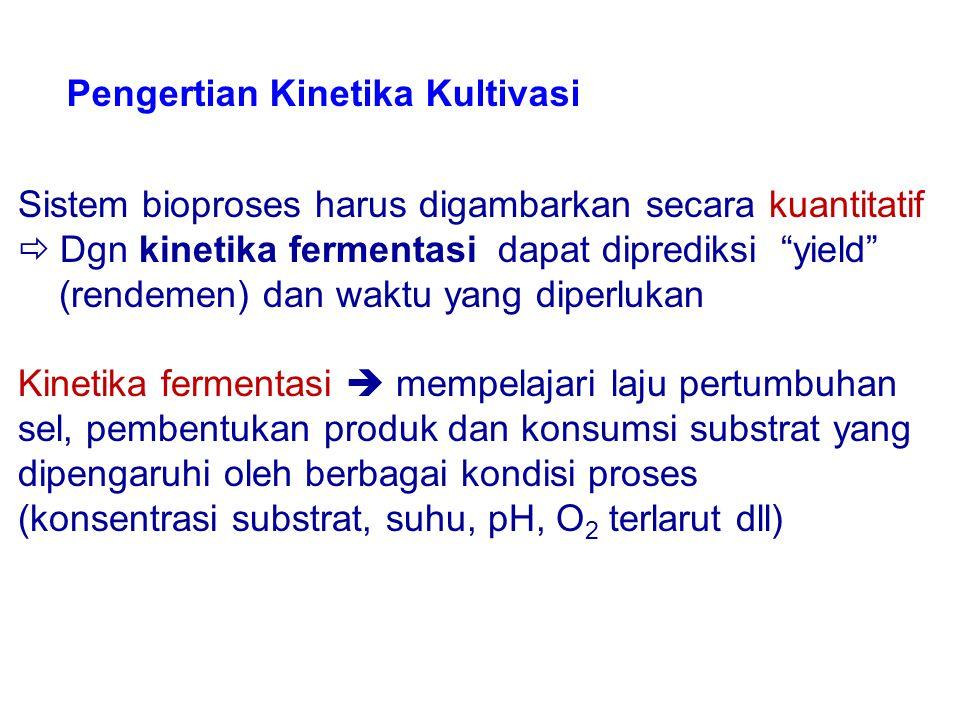 "Sistem bioproses harus digambarkan secara kuantitatif  Dgn kinetika fermentasi dapat diprediksi ""yield"" (rendemen) dan waktu yang diperlukan Kinetika"
