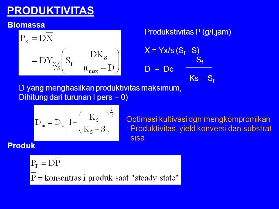 PRODUKTIVITAS Biomassa D yang menghasilkan produktivitas maksimum, Dihitung dari turunan I pers = 0) Produk Produkstivitas P (g/l.jam) X = Yx/s (S f –